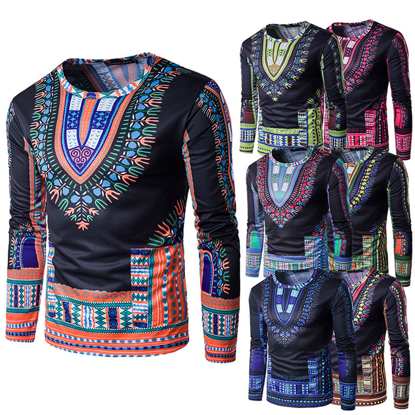 2019 New African Traditional Men Clothes Dashiki Wedding Retro Floral Full Sleeve Africa Dress for Male Embroidery T-shirts