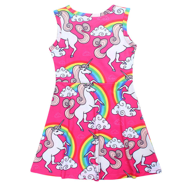 c230ec9f4 € 17.07 |Chicas Vestido de Verano Unicornio Princesa Vestidos Para Niñas  Marca Vestido 10Y Niños Party Girl Vestidos de novia Sin Mangas Vestido ...