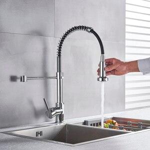 Image 2 - Chrom Küche Armaturen Messing Armaturen für Küche Waschbecken Einzigen Hebel Pulldown Frühjahr Auslauf Mixer Tap Heiß Kalt Wasser Kran