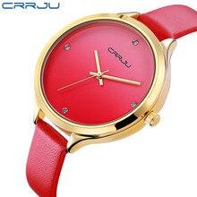 2017New Arrivées CRRJU De Luxe Rouge Véritable Bracelet En Cuir Montre À Quartz Grand Cadran Dames Casual Horloge Femmes Montres Reloj Mujer