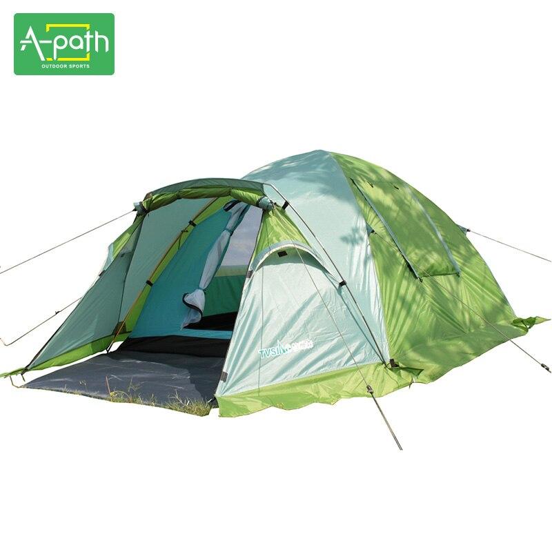 3-4 Personne de Haute Qualité Double Couche Camping En Plein Air Tente Touristique Voyage 1 Chambre 2 De Réception Salle de Dôme Chapiteau croître Tente