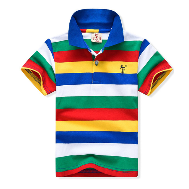 Big Boy T-shirt 2019 New Fashion Boys T shirts for Kids Summer Children Clothes Color Stripe Cotton Short Sleeve Boys T shirt