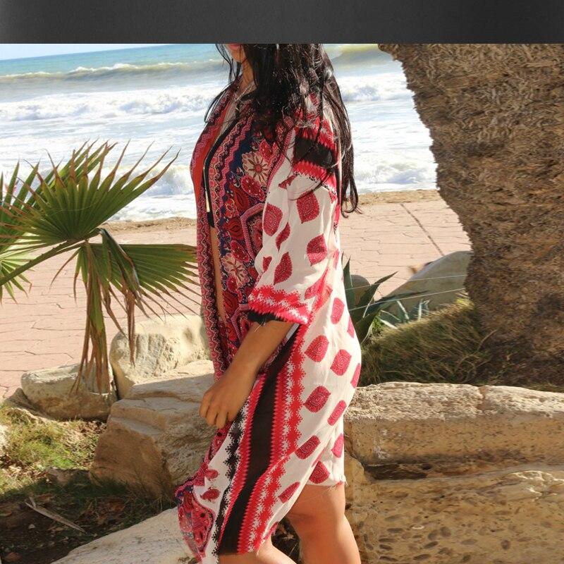 Mousseline de soie imprimé chemise plage à l'extérieur du tour cardigan manteau été nouveau femmes bohème plage resort à l'extérieur dames blouse - 3