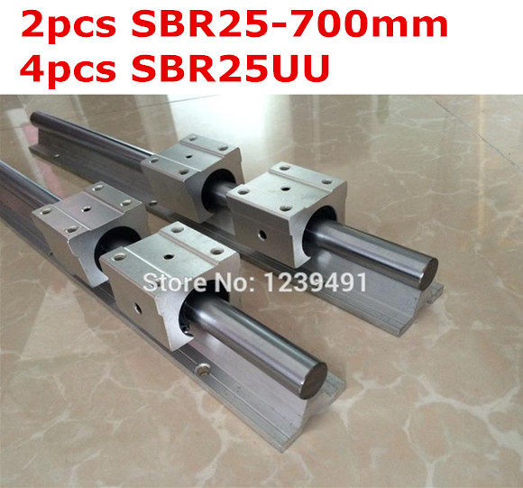 2pcs SBR25  -  700mm linear guide + 4pcs SBR25UU block 2pcs sbr25 l1500mm linear guides 4pcs sbr25uu linear blocks for cnc