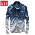 2017 Nueva Marca de color degradado jeans camisa de los hombres de marca informal camisas de mezclilla hombres camisa larga de algodón para hombre overhemd mannen homens X538