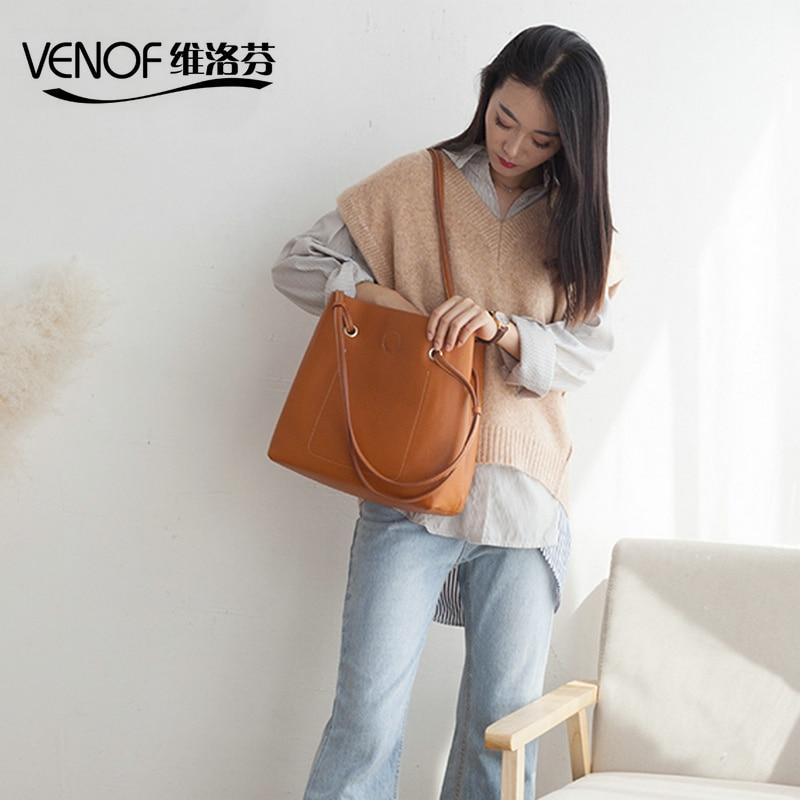 VENOF large capacity luxury women shoulder bag 100% genuine cowhide composite bag Fashion lady luxury designer bag leather 2018 luxury 100
