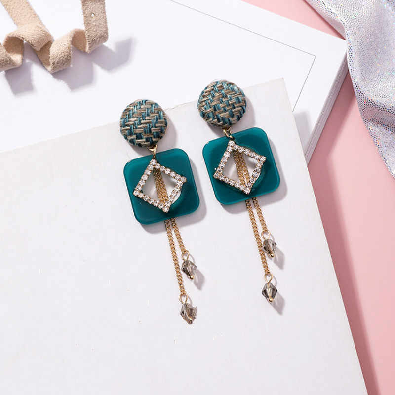Acrylic Ethnic Water Drop Women Dangle Earrings Small Fresh Woven Round Square Crystal Tassel Earrings For Women Drops Earrings