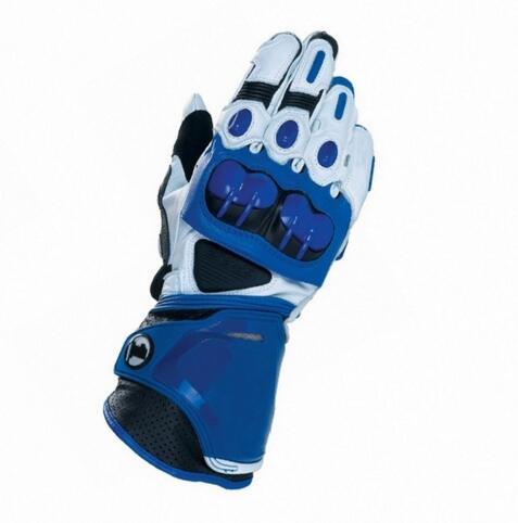 GP Plus R Genuine Leather Blue Gloves Street Motorcycle Racing Men's Gloves