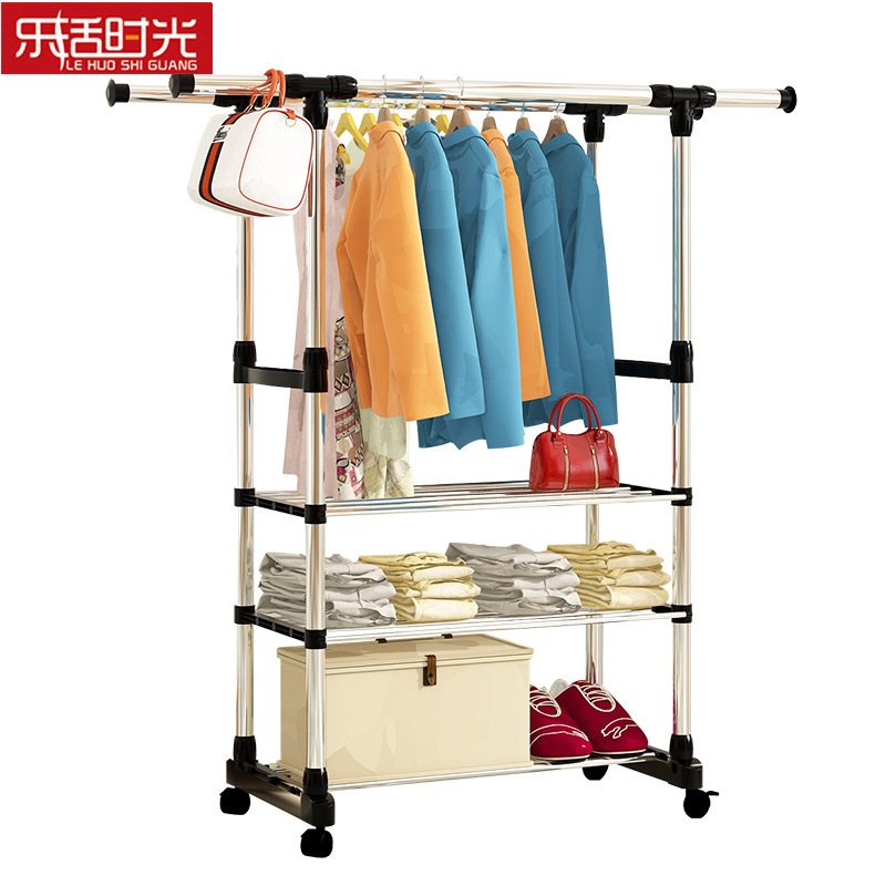 Simple Coat Rack Steel Frame Floored Bedroom Balcony Drying Rack Storage Rack Hanger Simple Modern Clothes Rod Shoes Shelf
