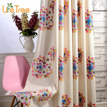 Colorful Firework Embroidered Kids Curtains For Boys Girls Bedroom Modern Living Room Window Drapes Kitchen Curtain