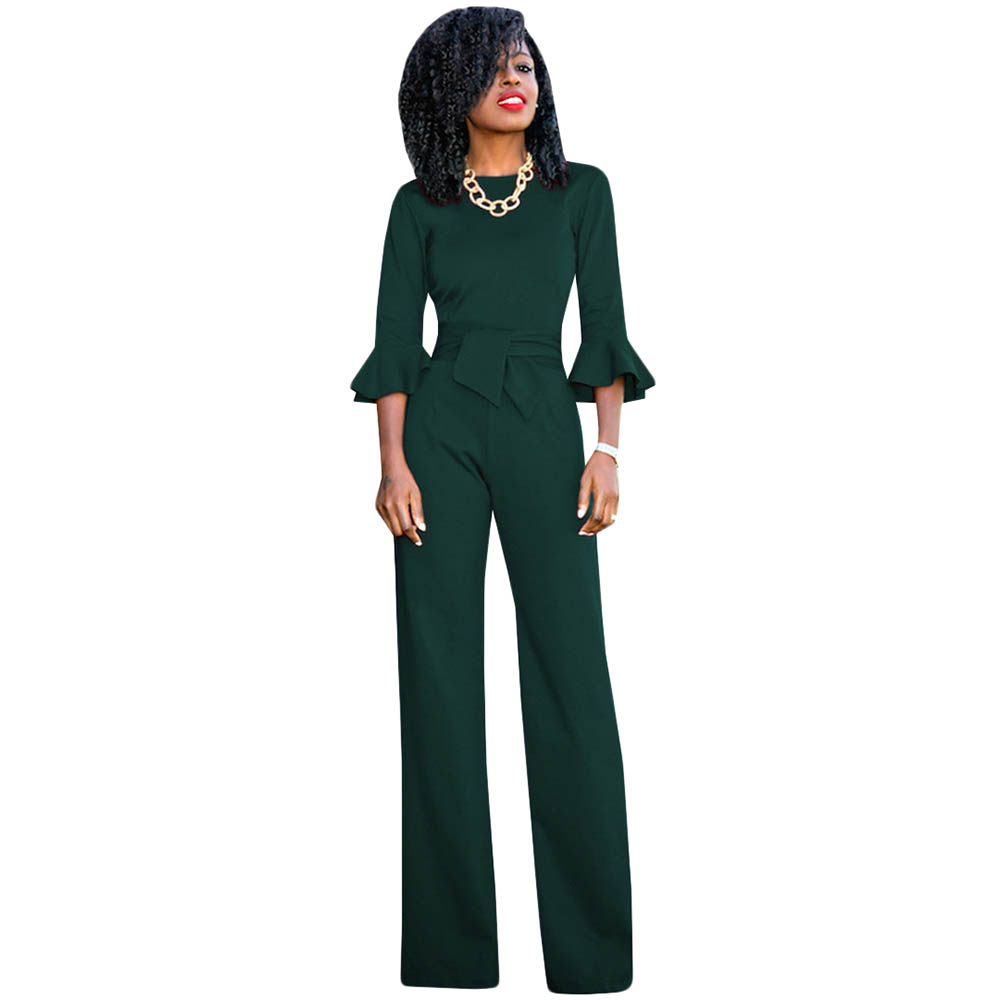 5 Colors Rompers Womens Jumpsuit 2018 Autumn Flare Sleeve Sashes Elegant Ladies Wide Leg Jumpsuits Party Overalls Long Playsuits