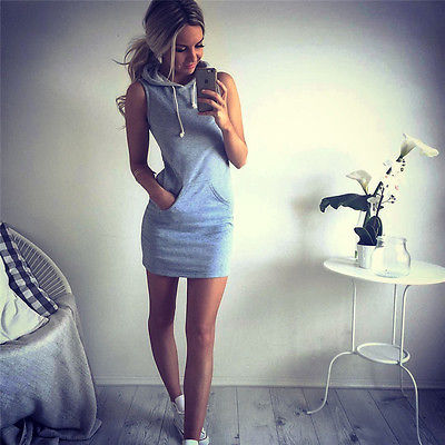 Newest Women Hooded Bodycon Dress Hoodies Pullover Slim Dress Sleeveless Hooded Casual Sexy Bodycon Bandage Women Clothing