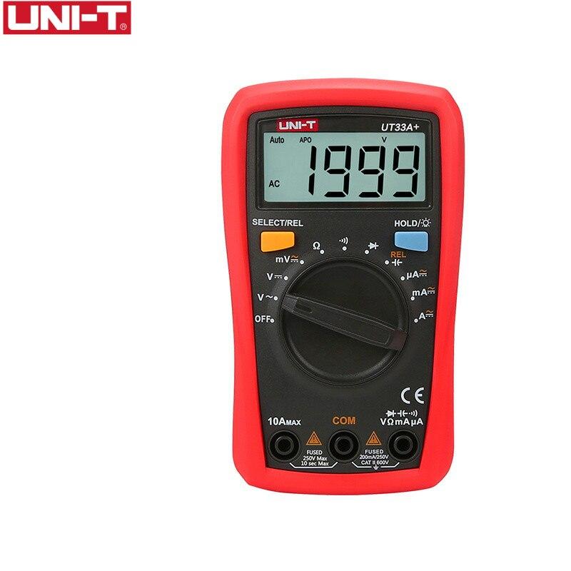 UNI-T UT33A + Multimètre Numérique LCD AC DC tension courant résistance + 2mF capacité testeur avec rétro-éclairage affichage