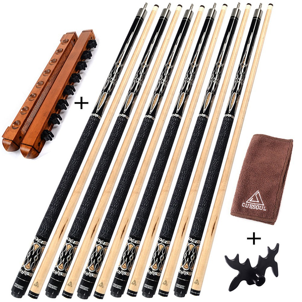 CUESOUL G204X6 6 Pieces Pool Cue With Cue Bridge Head and Cue Towel,8 Cue Stick Pool Table Billiard Wall Rack For House Bar cuesoul g202x6 6 pieces pool cue stick with cue bridge head cue towel 8 cue stick pool table billiard wall rack for house bar