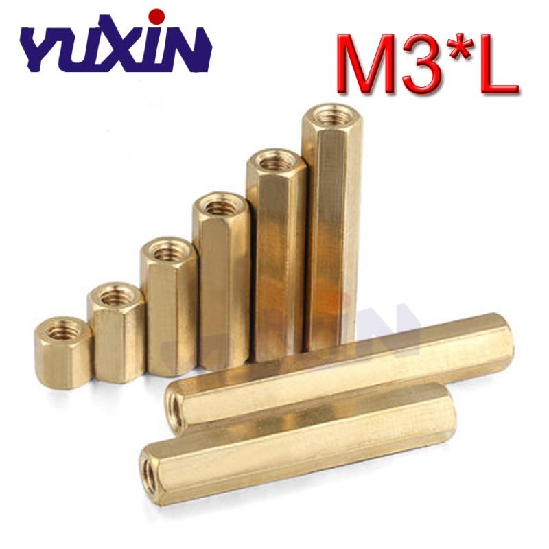 100Pcs M3x15mm Hexagonal nut Female brass Standoff