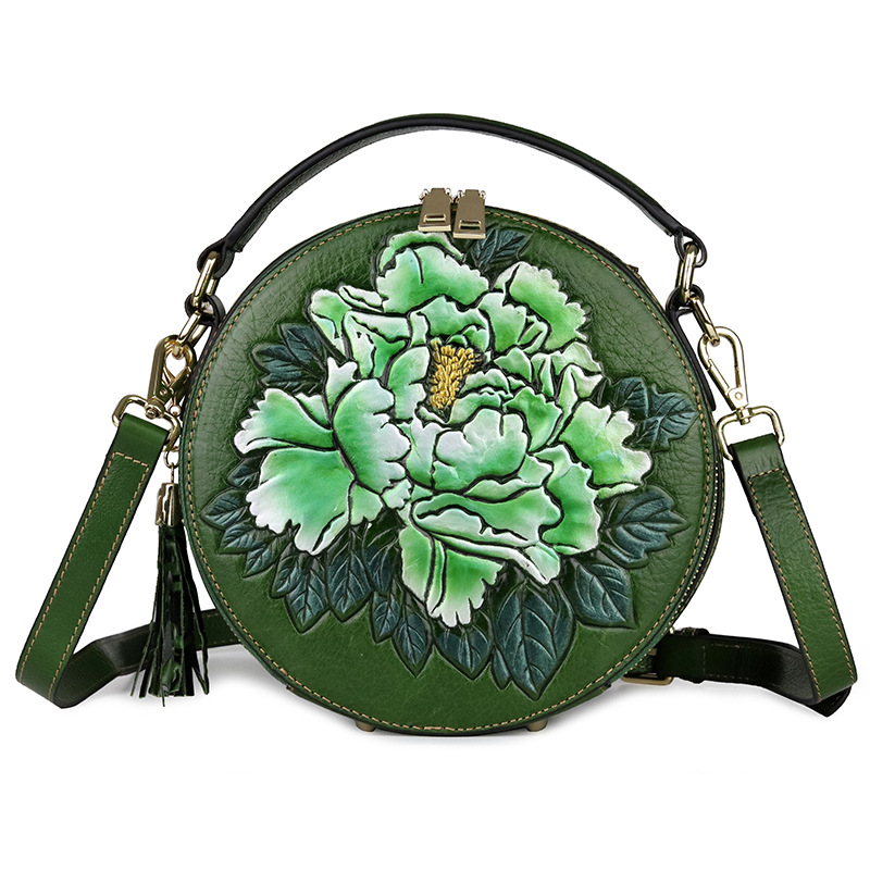 small women bag genuine leather shoulder bags embossed floral ladies leather handbag circular real leather crossbody bag