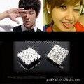 Popular Hip Hop Bling Crystal Stud Earring Brand Geometric Platinum Plated unisex Stud Earrings for Men woman Free Shipping