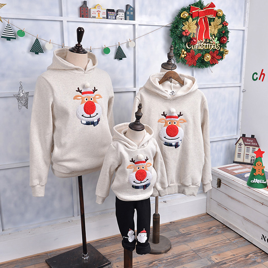 Mother and Daughter Family Matching Sweatshirt Moose Velvet Hoddies Baby Boy Xmas Clothes Deer Christmas Sweatshirts New Year