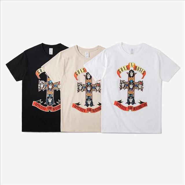 Homens Tshirt Homme 2017 Iron Maiden T Marca camisa 3D Guns N rosas Imprimir Black Man Camisa De Metal Hip Hop Camisetas de Algodão dos homens Casuais