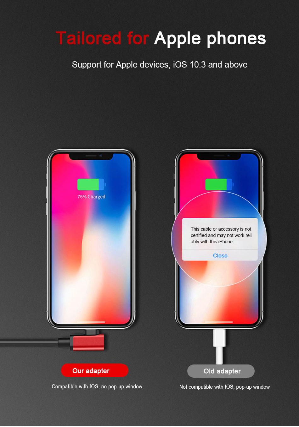 !ACCEZZ 2 3 IN 1 Dual Lighting Charging&Audio&Calling Headphone Adapter For iphone X 8 7 Plus Jack to Earphone AUX Splitter Cables (5)