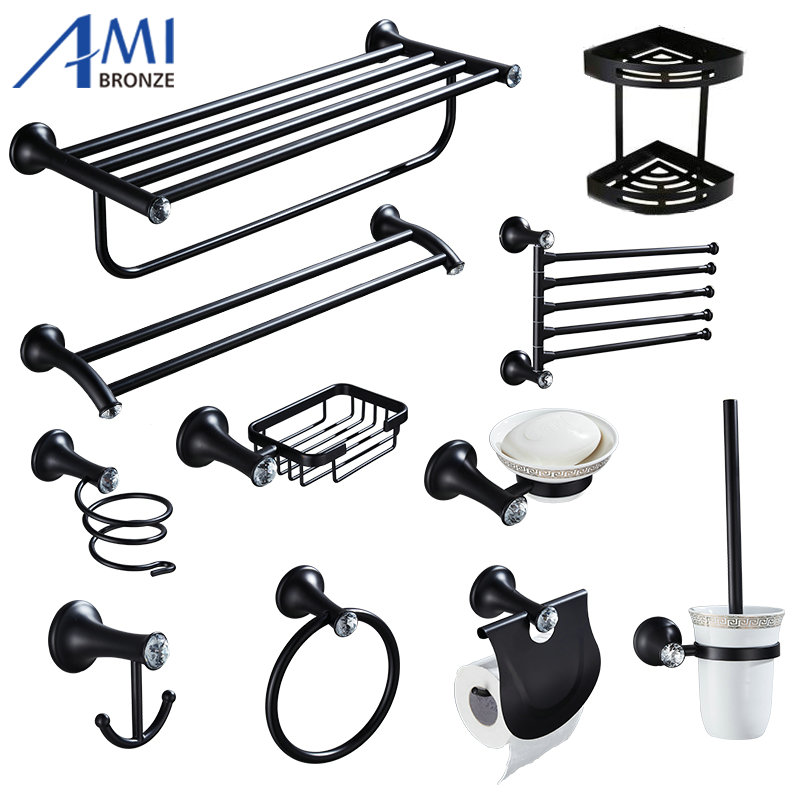 Aliexpress.com : Buy Stainless Steel Black Paint Crystal Bathroom Hardware  Towel Shelf Towel Bar Paper Holder Cloth Hook Basket Shelf Soap Dish BP202  From ...