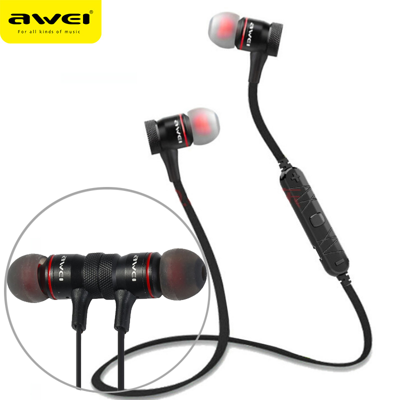 AWEI A920BL Wireless Headphone Bluetooth Earphone With Mic In-ear Sports Music Earbuds Bluetooth 4.1 For iPhone Samsung Xiaomi remax bluetooth v4 1 wireless stereo foldable handsfree music earphone for iphone 7 8 samsung galaxy rb 200hb