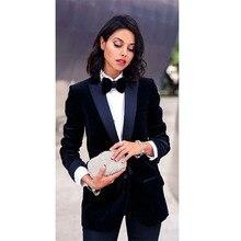 2017 Navy Velvet Jacket Womens Business Suits Satin Lapel Female Trouser Cotton Blended Fabric Elegant PantS