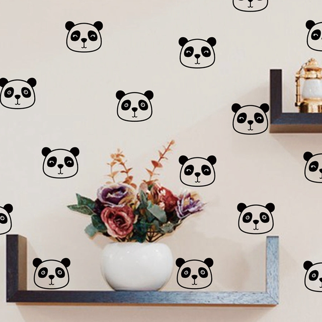 Panda Wall Decals Nursery Decor Cute Face Vinyl Sticker For Kids Room