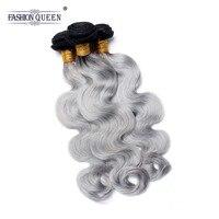 Модные queen hair объемная волна 3 Связки 1B/Grey Ombre бразильский переплетения человеческих волос Серый Цвет Ombre наращивание волос