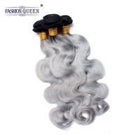 Fashion Queen Hair Body Wave 3 Bundles 1B/ Grey Ombre Brazilian Remy Human Hair Weave Gray Color Ombre Hair Extensions