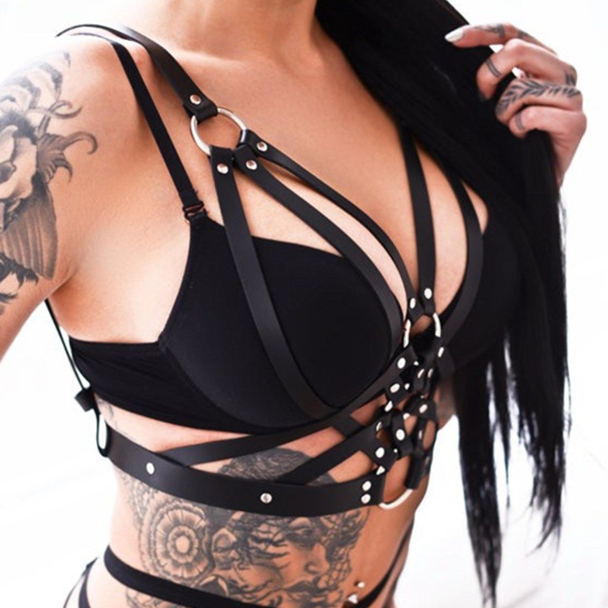 Women Body Leather Chest Harness Punk Gothic Adjustable Strap Bodysuit Bra