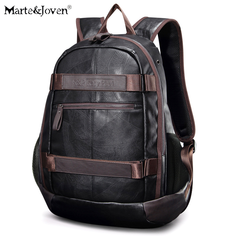 Marte&Joven Black PU Men USB Charging Laptop Backpack Bags Teenagers Male Large Capacity Travel Rucksack High School Back Pack multifunction men women backpacks usb charging male casual bags travel teenagers student back to school bags laptop back pack