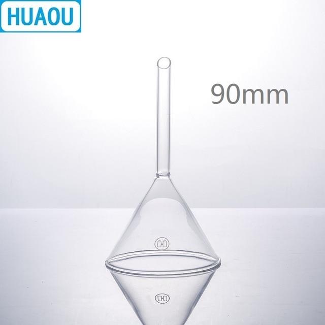 Funil de HUAOU 90mm Haste Curta 60 Graus de Ângulo de Vidro Borosilicato 3.3 Equipamentos de Laboratório de Química