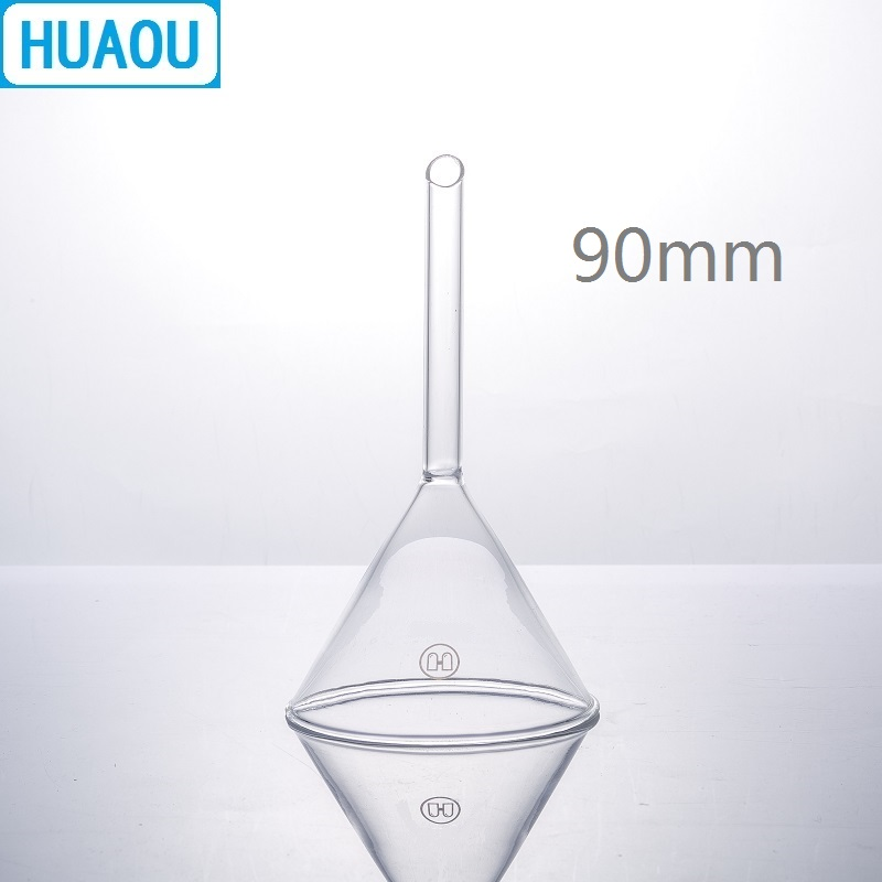 HUAOU 90mm Funnel Short Stem 60 Degree Angle Borosilicate 3.3 Glass Laboratory Chemistry Equipment