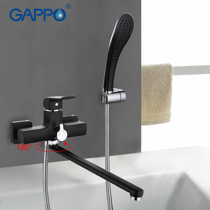 GAPPO Wall mount home faucet Bathroom sink faucet mixer bathtub tap faucet sink torneira 360 Long spout in hand shower G2250 gappo bathroom shower tap wall mount bathroom faucet bathtub sink faucet mixer torneira white cold hot water faucet shower g2249