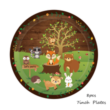 Woodland Animals Disposable Tableware Set Jungle Safari Party Decor Paper Plates/Cup/Napkins