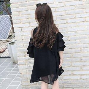 Image 5 - Шифоновые платья для девочек, черная детская одежда для подростков, милое платье с оборками на рукавах для крупных девушек, лето 2019
