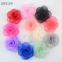 50pcs/lot 9cm Handmade Burned Blooming Organza Chiffon Flowers Wedding Applique Embellishment Hair Accessories TH223