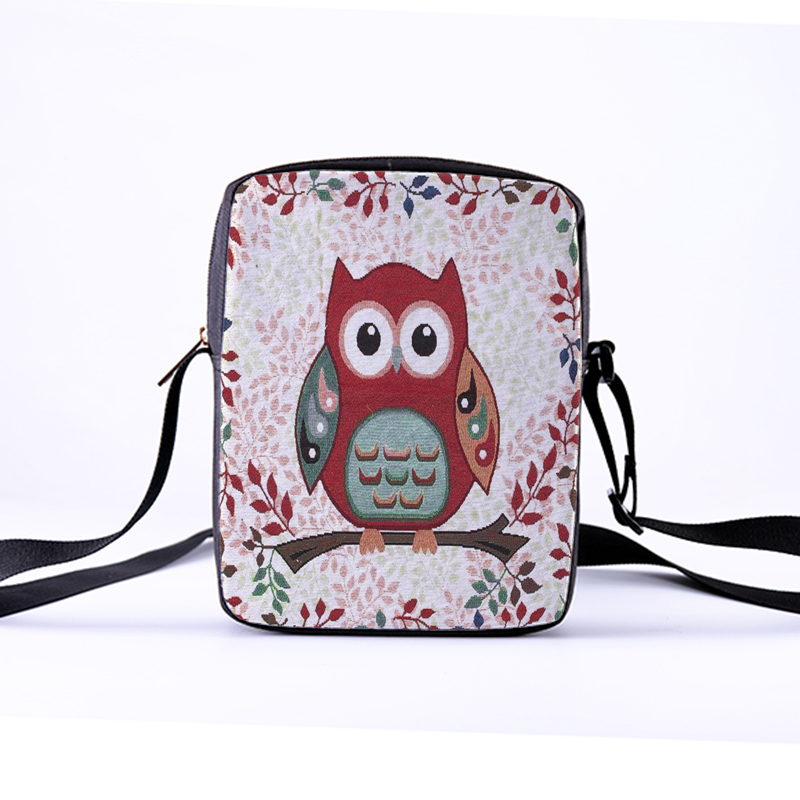 Customized Women Messenger Bags Flap Bag Lady Canvas Cartoon Owl Printed Crossbody Shoulder Bags Small Female Handbags child bag