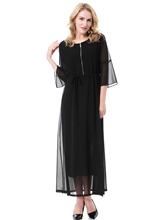 Arab Lace Abaya Women Zipper Collar Long Dresses Muslim Two-layers Elegant Solid Kaftan