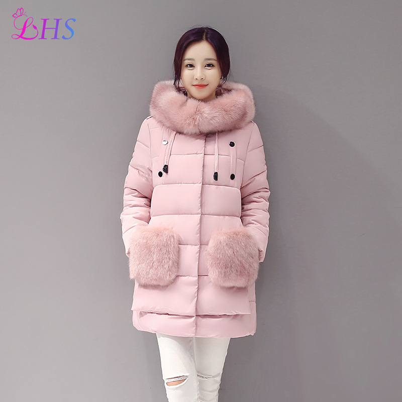 2016 Luxury Winter Collection Women Down Coat Jacket Warm Woman Down Parka Fox Fur Collar Clothings