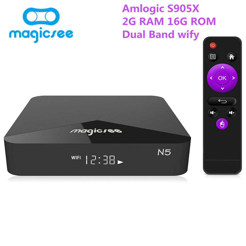 лучшая цена MAGICSEE N5 Android TV Box Amlogic S905X Android 7.1.2 2GB RAM 16GB ROM 2.4G 5G smart tv-box 4K H.265 dual band set-top box