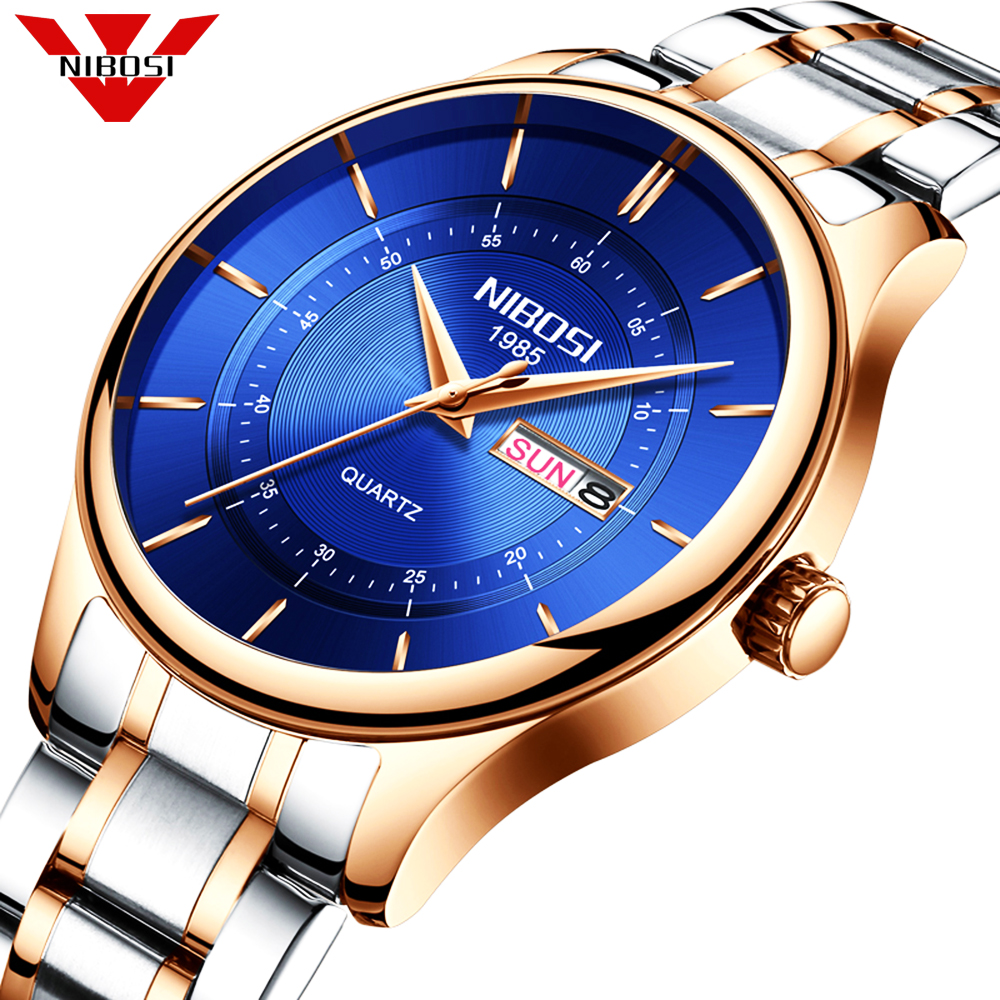 Nibosi Mens Unique Analog Quartz Waterproof Business Casual Leather Band Dress Wrist Watch Simple Fashion Classic Waterproof 30M paidu fashion men wrist watch casual round dial analog quartz watch roman number faux leatherl band trendy business clock