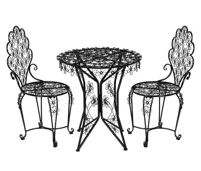 HLC 3-Piece Outdoor Cast Iron Patio Furniture Set with Table and Chairs