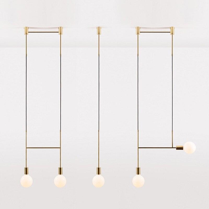 Us 49 93 36 Off Scandinavian Minimal Line Chandelier Post Modern Molecular Living Room Dining Led Lamp Designer Chandelie In Pendant Lights