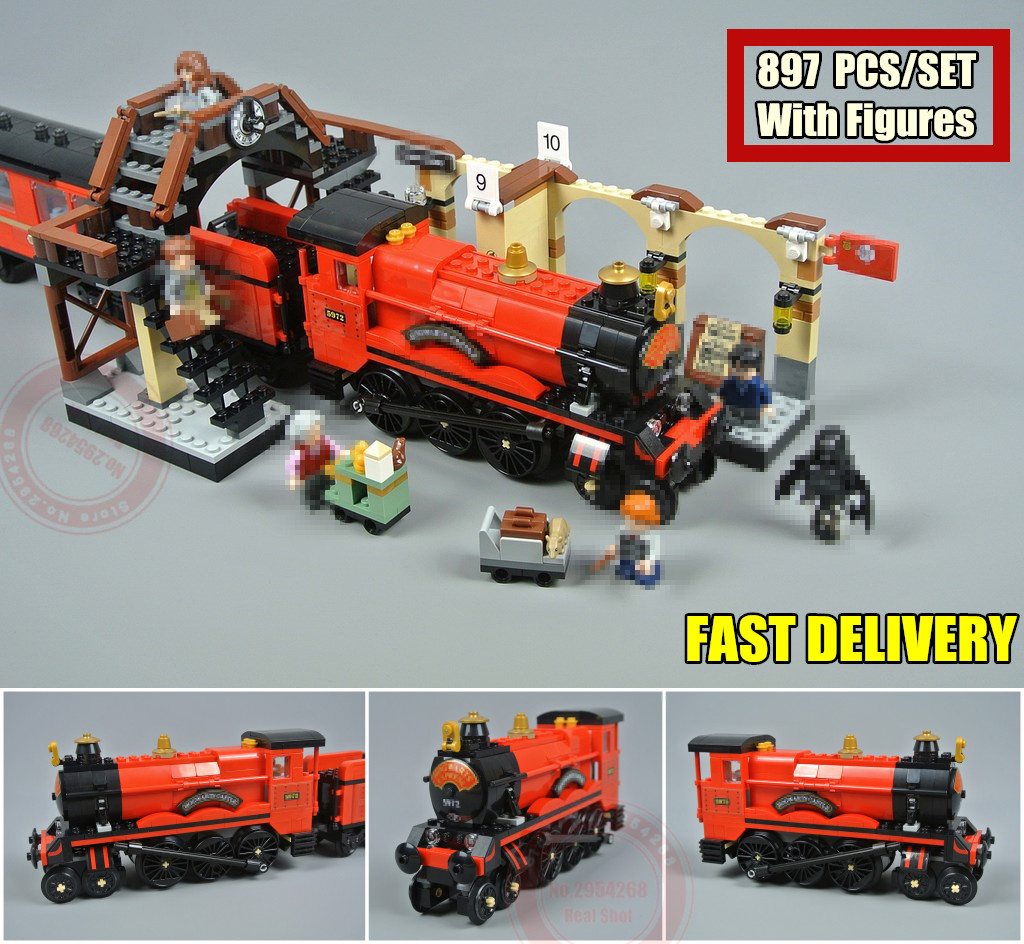 New Hogwarts Express Train station fit legoings Harry Potter Hogwarts city figures Blocks Bricks model Building Toy kid gift diy