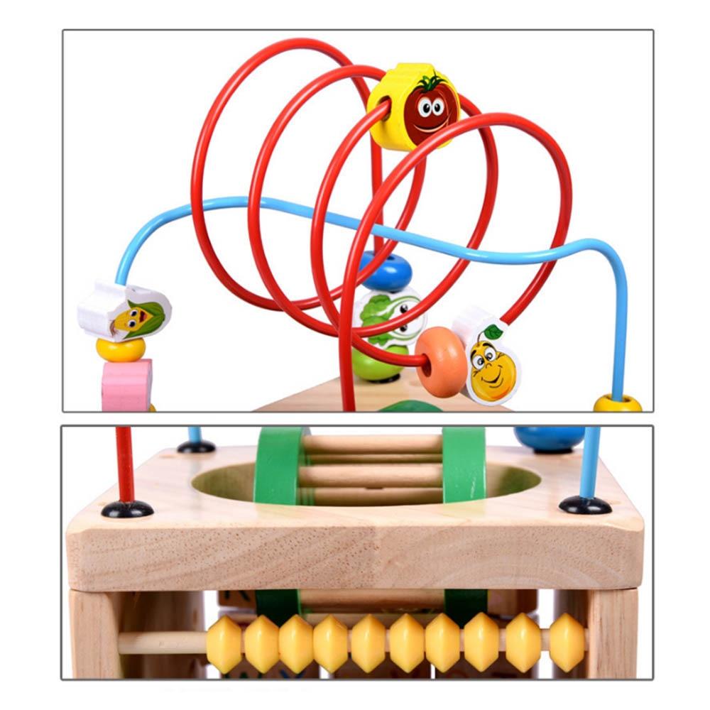 Multi-fonction 6 en 1 mathématiques en bois autour de perles labyrinthe lettres reconnaissance boulier horloge apprentissage jouets éducatifs pour enfants jouets mathématiques - 4