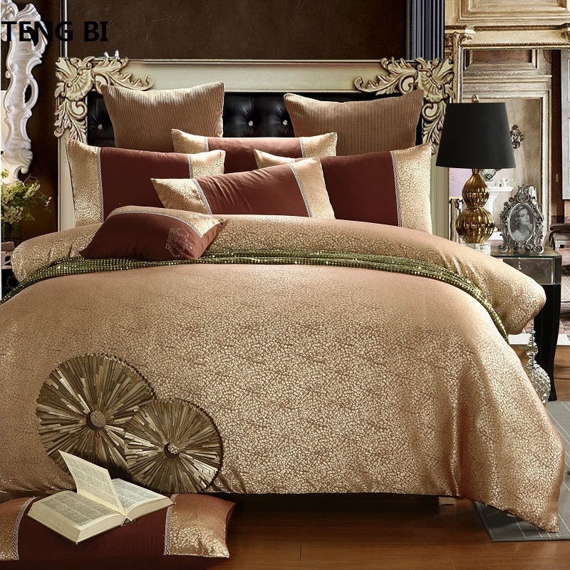 2018 New Luxury Tencel Satin Jacquard Bedding Set bedclothes bed linen bed sheet bed set Queen