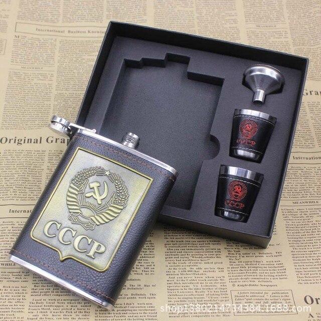2pcs/lot 8oz Stainless Steel Hip Flasks Set Whiskey Wine Bottle  Alcohol Pocket Flagon Gift