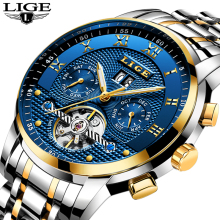 LIGE Mens Watches Mechanical-Watch Waterproof Luxury Automatic Top-Brand Relogio Masculino
